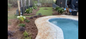 Pine straw and plants surrounding a backyard pool DC Lawn & Landscape in Fairhope, AL