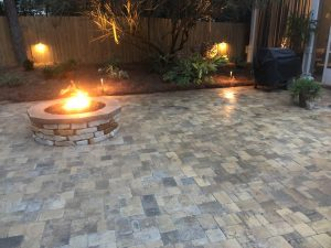 Gorgeous pavers and firepit by DC Lawn & Landscape in Fairhope, AL