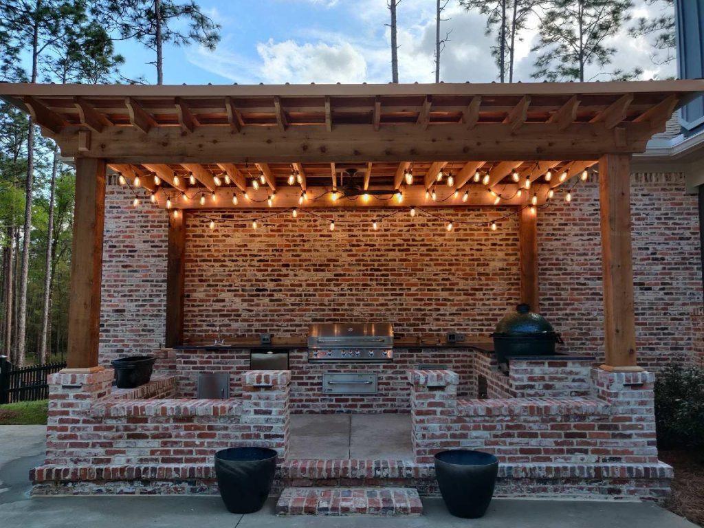 Beautiful outdoor brick kitchen by DC Lawn & Landscape in Fairhope, AL