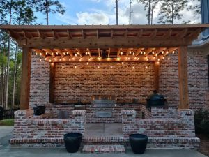 Beautiful outdoor brick kitchen by DC Lawn & Landscape in Fairhope, AL