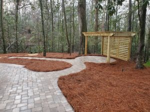 side view of the pergola by DC Lawn & Landscape in Fairhope, Alabama