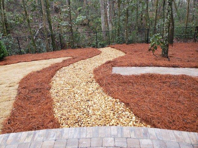 New rock path by DC Lawn & Landscape in Fairhope, Alabama