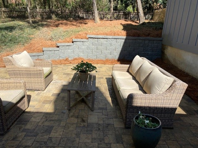 landscape wall and patio extension done by DC Lawn & landscape in farihope, AL