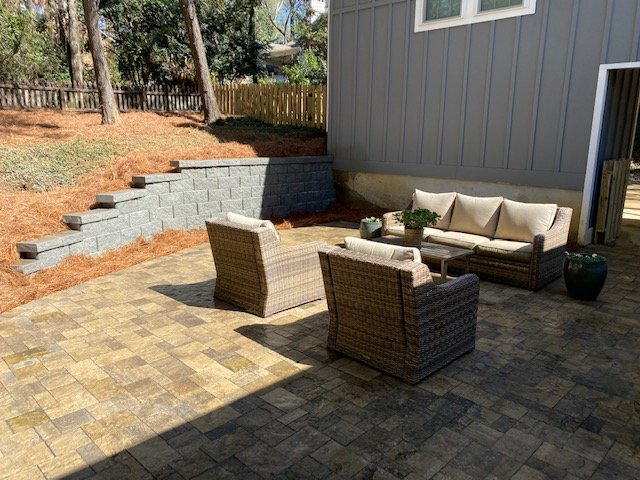 landscape wall and patio extension done by DC lawn & landscape in Fairhope, AL