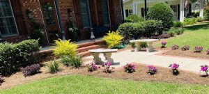 new flowerbed lining a walkway done by DC lawn and landscape in Fairhope, Al