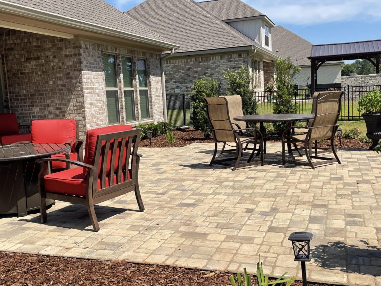 paver patio done by dc lawn and landscape in fairhope, al