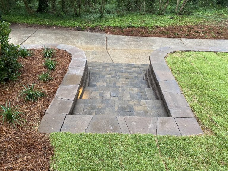 steps for a retaining wall done by DC Lawn and Landscape in Fairhope, AL