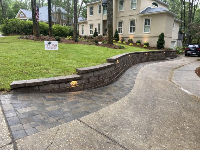 retaining wall install by DC lawn and Landscape in Fairhope, AL