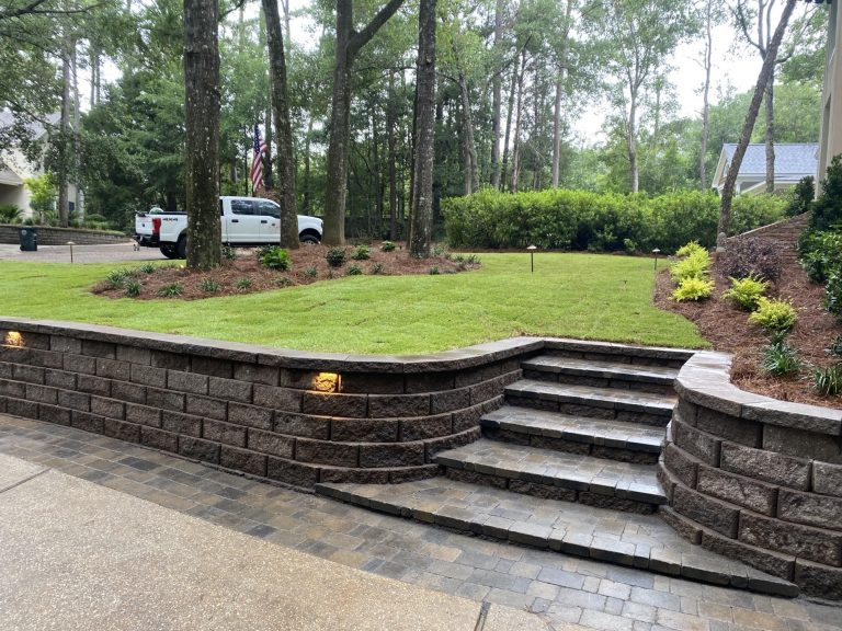 finished retaining wall install by DC lawn and Landscape in Fairhope, AL