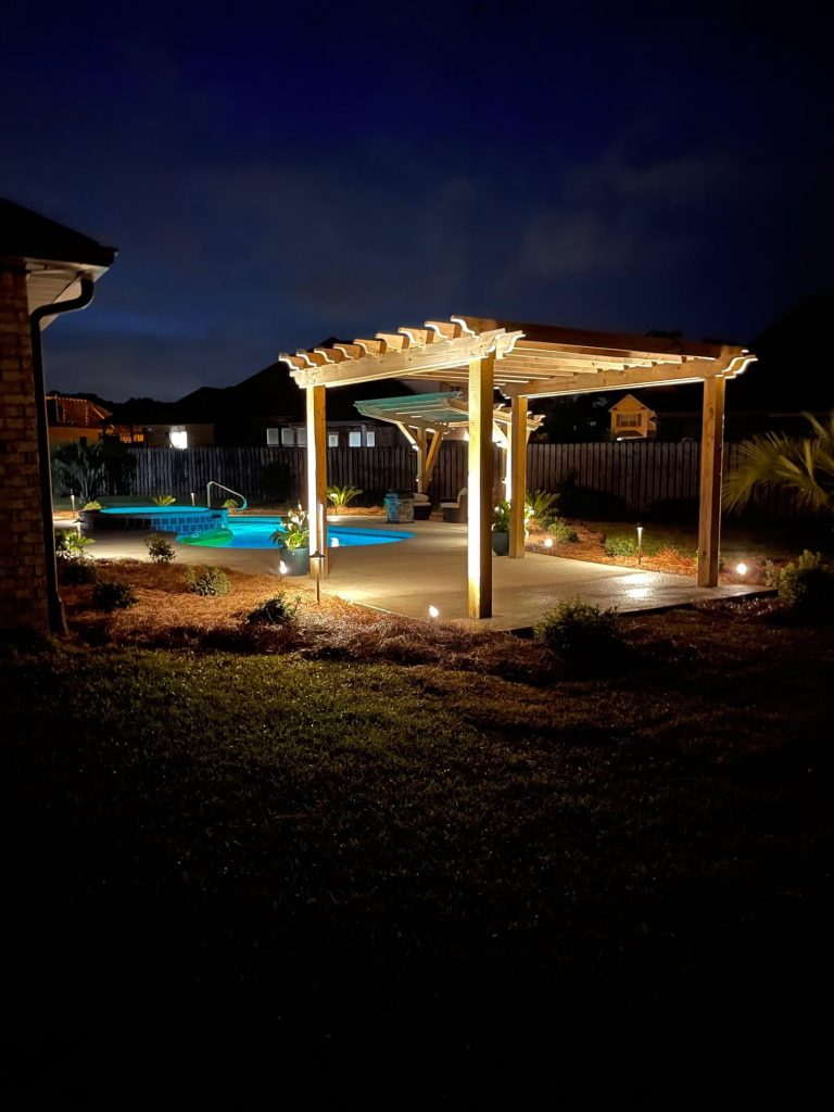 pergola and outdoor lighting done by DC Lawn and Landscape in Fairhope, Al